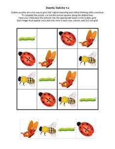 These free printable Insects Sudoku Printables use smaller grids and images, making them a perfect spring-time brain exercise for young children. Sudoku Puzzles, Puzzles For Kids, Games For Kids, Insect Games, Preschool Activities, Activities For Kids, Body Preschool, English Worksheets For Kids, Critical Thinking Skills