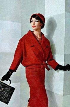 Simone D'Aillencour in Dior red wool suit, 1957 <3