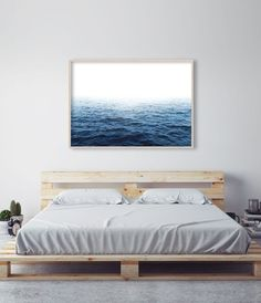 Bedroom art above bed diy frames ideas for 2019 Artwork Above Bed, Bedroom Art Above Bed, Above Bed Decor, Bedroom Decor, Ocean Artwork, Master Bedroom, Bedroom Ideas, Modern Bedroom, Bedroom Stuff