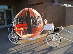 My father built this Cinderella Carriage for my daughter's school play! HOW AMAZING!!