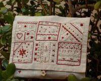 Pochette rouge - Broderie traditionnelle Un Chat dans l'Aiguille