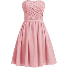 Dresstells Women's Short Strapless Bridesmaid Dress Homecoming Party... ($93) ❤ liked on Polyvore featuring dresses, strapless dress, pink strapless dress, short dresses, bridesmaid dresses and short strapless cocktail dress