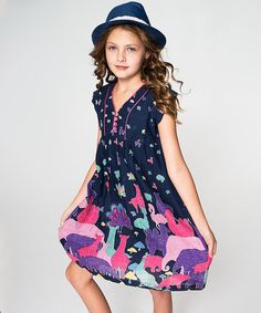 Look at this Navy & Pink Animal A-Line Dress - Toddler & Girls on #zulily today!