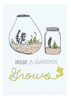 Inside a garden grows illustration