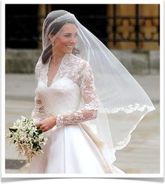 """Kate Middleton -- """"Detail of the exquisite wedding gown, put together by hand by sarah burton of alexander mcqueen, it is a perfect intermingling of tradition and modernity, with a bodice of ivory satin made of hand-cut english lace and french chantilly lace, over ivory and white satin gazar {a sheer, lightweight silk organza with a glaze-like sheen and moderate stiffness}; individual flowers were hand cut from lace and hand-engineered onto the ivory silk tulle to create the design, which…"""
