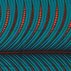 Tissu Wax motif africain - Orange & bleu