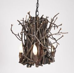 We LOVE these rustic yet elegant twig and branch chandeliers from Collier West, a quaint shop in Columbus, Ohio. Handade from hickory or willow, these chandeliers are entirely customizable.