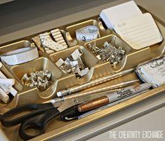 Spray paint cheap desk organizers in chic metallics {Paint It Monday} The Creativity Exchange.  Rustoleum Metallics in Gold