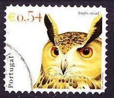 Owl postage stamp, Portugal.