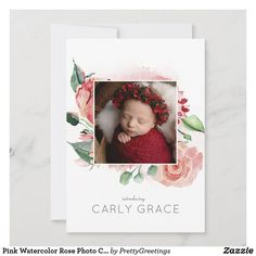 Pink Watercolor Rose Photo Collage Baby Girl Birth Announcement Baby Girl Birth Announcement, Birth Announcement Photos, Birth Announcements, Baby Girl Photos, Rose Photos, Watercolor Rose, Paper Texture, Baby Girl Newborn, Collage