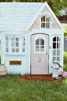 Costco Playhouse Hack: How to Transform an Outdoor Cedar Playhouse with Paint! - The Pink Dream - George W. - Costco Playhouse Hack: How to Transform an Outdoor Cedar Playhouse with Paint! - The Pink Dream Costco Playhouse Hack - Costco Playhouse, Cedar Playhouse, Girls Playhouse, Playhouse Kits, Build A Playhouse, Painted Playhouse, Princess Playhouse, Simple Playhouse, Backyard Playset