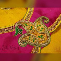 ishithaa boutique. No 104/11 Arihant VTN square Gopathy Narayanasamy road TNagar Chennai. Contact :  098841 79863.. Blouse Back Neck Designs, Fancy Blouse Designs, Bridal Blouse Designs, Blouse Neck, Aari Embroidery, Embroidery Designs, South Indian Blouse Designs, Hand Work Design, Maggam Work Designs