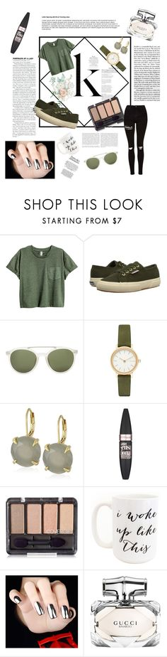 """K"" by elena11-07 ❤ liked on Polyvore featuring Superga, 3.1 Phillip Lim, Skagen, Vince Camuto, Maybelline, Moon and Lola, Gucci and Topshop"