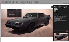 Trans-Am Apocalypse No. 2, John Scott, 1994. Car with primer and latex paint incised with the text for the Book of Revelations of Saint Jon the Evangelist, fuxy dice purchased 1994. National Gallery of canada (no. 37493).  http://www.gallery.ca/en/see/collections/artwork.php?mkey=43598