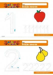 cifra 1 - 007 - Fise de lucru cu numere cu platelina- numerele 1 si 2 Kids Corner, Chart, Map, Teaching Ideas, Continents, Location Map, Maps