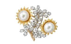 18-carat gold, diamond and pearl one-of-a-kind floral brooch, £POA, Buccellati