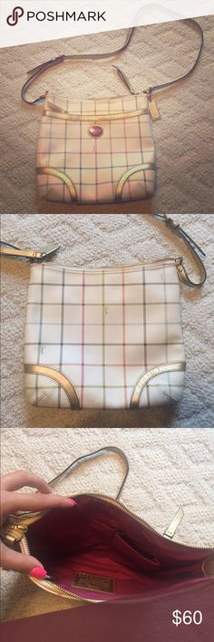 Coach Crossbody Bag Blue, orange, pink, green plaid over beige bag. Gold accents. Pink interior with 3 pockets. Zip close for main pocket and smaller front pocket. Coach Bags Crossbody Bags