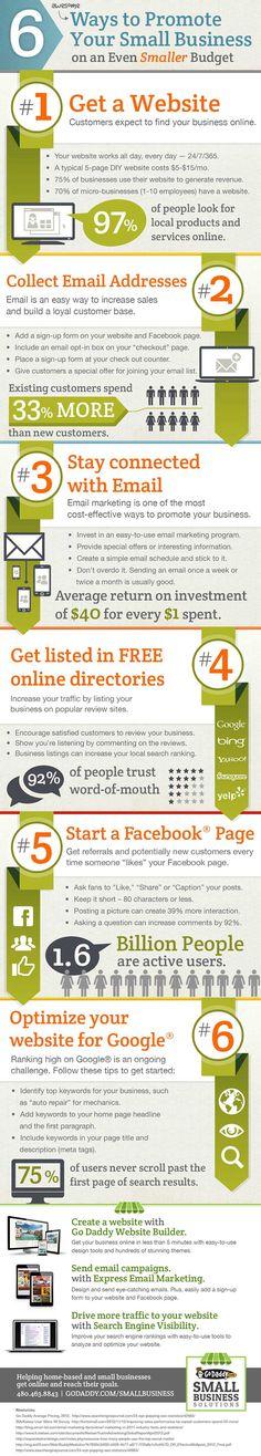 6 formas de promocionar tu pyme #infografia #infographic #socialmedia #marketing
