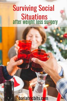 Holiday Gathering after weight loss surgery can be stressful. Here are 7 tips to… Holiday Gathering after weight loss surgery can be stressful. Here are 7 tips to surviving social situations after weight loss surgery. Bariatric Eating, Bariatric Recipes, Bariatric Surgery, Diet Recipes, Gastric Sleeve Surgery, Gastric Bypass Surgery, Preparing For Surgery, Bariatric Sleeve, Weight Loss Help