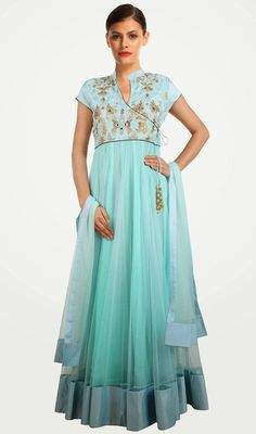 Appear stunningly superb in this cyan blue embroidered net floor length Anarkali suit. Beautified with lace and resham work. #AwesomeDesignerCollection