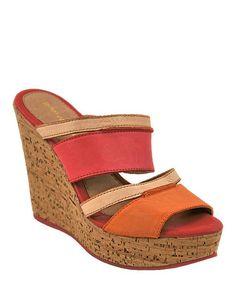 Look what I found on #zulily! Pink Cork Heel Leather Platform Sandal by Bruno Menegatti #zulilyfinds
