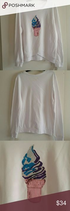 *NWT REDUCED* Rebellious One Sweatshirt *NWT* Rebellious One Sweatshirt with sequin ice cream on it, white, size Large. Rebellious One Tops Sweatshirts & Hoodies