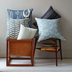 These striking pillow covers are versatile, could play a starring role in any room. Beautiful blues, love them all!  #WestElm