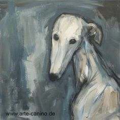 White Greyhound, acrylic on canvas, 40 x 40 cm, www.arte-canino.de