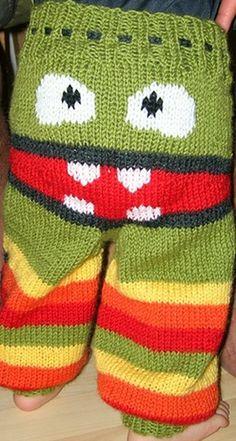 Free pattern-> http://wonderfuldiy.com/wonderful-diy-amusing-knitted-monster-pants-with-free-patterns/ #diy #knit