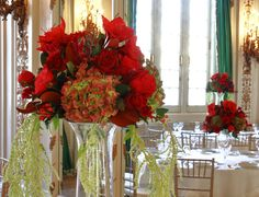 Wedding Wednesday: Fairytale wedding - York Flowers - Washington DC Florist - Annapolis MD Florist  Red white and peach rooms in this elaborate fairytale wedding. Red piano roses, mahogany leaves, Peach gerbers, freespirit roses, coral flowers, white hawaiian orchids, amaryllis freesia wedding centerpieces events decor flower arrangements