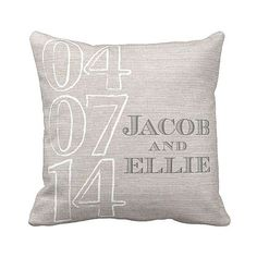 Personalized Wedding Gift Pillow Cover Cotton Anniversary Gift Pillow Cover Choose your Name and Date