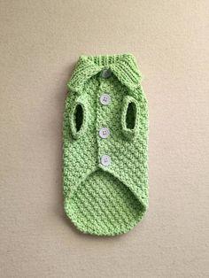 Crochet Dog Sweater Free Pattern, Knit Dog Sweater, Hand Knitted Sweaters, Cotton Sweater, Knitting Patterns Free, Hand Knitting, Very Small Dogs, Small Dog Sweaters, Dog Jacket