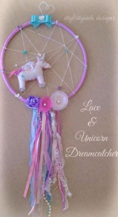 Lace & Unicorn dreamcatcher / mobile / wall art magic unicorn princess fairytale nursery bedroom keepsake handmade decor on Etsy, A$69,95 AUD