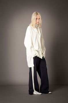 2021-22 A/W 019, Grampians Washable Wool Twill Tailored Baggy Shirt FRC-B04-106, Wool Rib + Wool Jersey Combination Tunic FRC-T09-110, Microfiber Jersey Track Pants FRC-P04-600 Normcore, Tunic, Wool, Pants, Shirts, Collection, Dresses, Track, Style