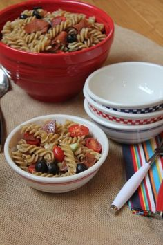 Summer Pasta Salad-- I'm thinking of making it with turkey pepperoni which would really cut the fat content.