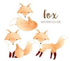 fox watercolor clipart, watercolor clipart, woodland watercolor clipart, fox, woodland, watercolor, cute, baby fox, png, instant download by TinyConfetti
