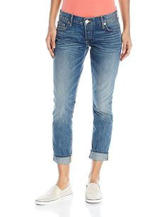 True Religion Women's Liv Rolled Boyfriend Jean Blue Z * Check out the image by visiting the link.