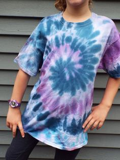 Classic tie dye swirl for kids in blue and purple. Hand-dyed. Youth XL. From Creations by Maris https://www.etsy.com/listing/320290462/childrens-tie-dye-tshirt-youth-xl-kids