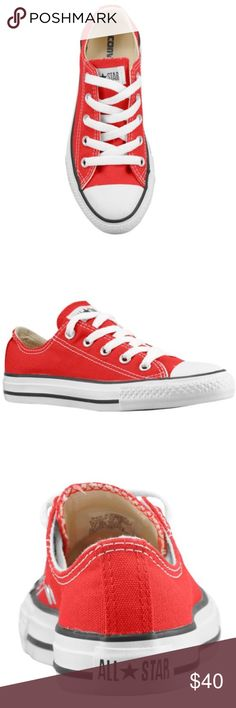 Red chuck Taylor converse all stars The original basketball shoe is now defined as a stylish modern-day fashion staple!   Durable canvas upper. Lace-up front with metal eyelets. Canvas lining and a cushioned footbed provides hours of comfort. Original rubber toe box and toe guard, tonal sidewall trim and All Star® heel patch. Signature Converse® rubber outsole. Imported.   ☀️ Converse Shoes Sneakers