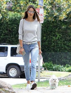 Classic style: She showed off her go-to off duty fashion of jeans and a t-shirt...