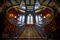 The Grand staircase - The Grand Staircase at St. Pancras Renaissance London Hotel as features in a spice girls video or the movie? Anyway this is the first shot Ive posted from my new camera! traded in some old gear that I don't use for a Sony A7ii awesome camera! Really liking the Sony system! Will definitely try to shoot here again but next time probably sneak the mini tripod in!