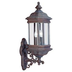 3 Light Hill Gate Outdoor Wall Lantern by Sea Gull Lighting. $366.00. Sea Gull Lighting 8839-08 3 Light Outdoor Wall Lanterns - Textured Rust Patina