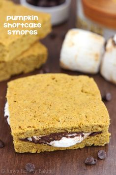 Pumpkin Shortcake S'mores -- the BEST s'mores I've ever eaten! Ooey gooey, super easy & made indoors!