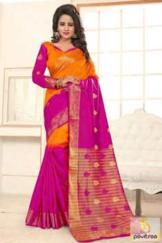 Orange and pink wedding banarasi silk saree. Saree populated with its prime features such as long lasting nature, softness, stylish and high comforts. #shadedbanarasisaree #banarasisareeonlineindia #Designerbanarasisaree More: http://www.pavitraa.in/catalogs/beautiful-new-fashion-sarees-online/?utm_source=hp&utm_medium=tumblrpost&utm_campaign=20Oct