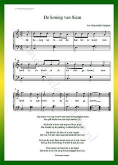 De koning van Siam - Gratis bladmuziek van kinderliedjes in eenvoudige zetting voor piano. Piano leren spelen met bekende liedjes.