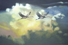 SANDHILL CRANES wildlife bird 24x36 oils on canvas by RUSTY RUST / C-107  Rusty's website:  http://www.rustyart.net/