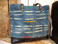 bd478c20a453 WEST AFRICAN INDIGO cloth Large Tote Bag Purse Hand Dyed Handwoven Late  1800 s