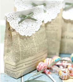 DIY Wedding Table Decoration Ideas - Newspaper Favor Bag - Click Pic for 46 Easy DIY Wedding Decorations