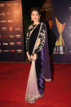 Velvet sari in pale pink, purple and black