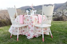 Chairs dipped in paint for an ombre effect | Anna Gleave Photography | see more on: http://burnettsboards.com/2014/05/pink-ombre-wedding-whimsical-details/